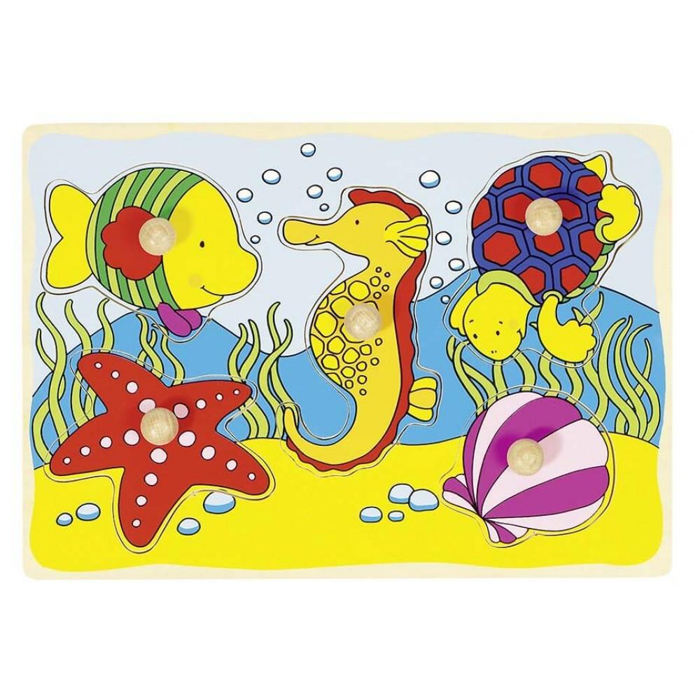 Бебешки Пъзел с Дръжки GOKI  - Морски Свят