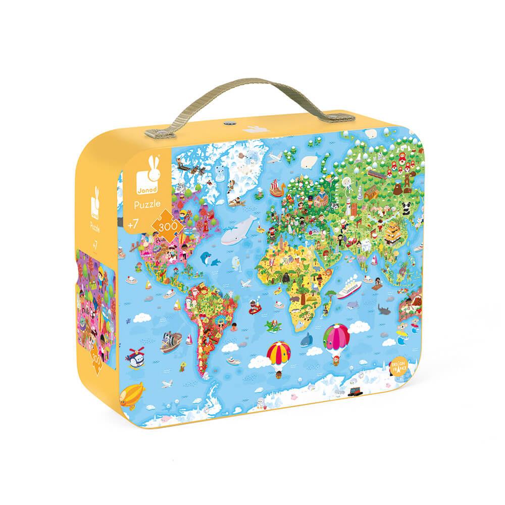 JANOD Гигантски Пъзел в Куфар – Карта на Света