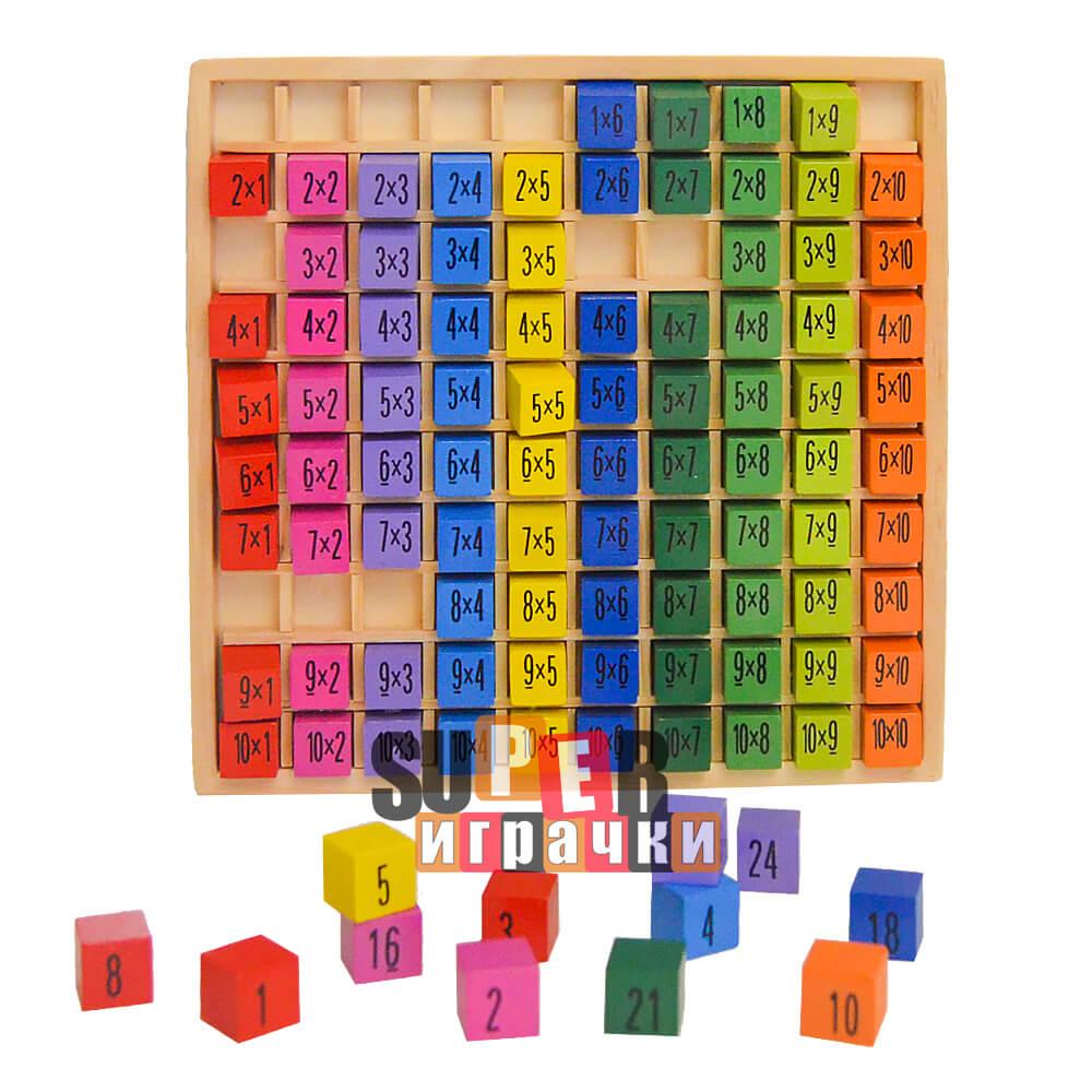 Дървена Таблица за Умножение - Учи и Играй