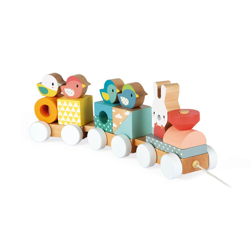 Цветно Влакче JANOD с Животни за Дърпане