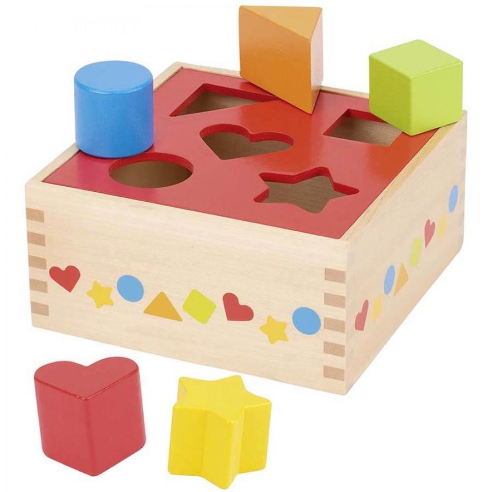 Цветна Кутия за Сортиране GOKI – Игра за Осезание и Форми