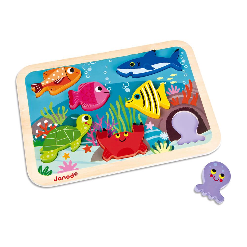 JANOD Бебешки Забавен Пъзел Океан от 7 Части