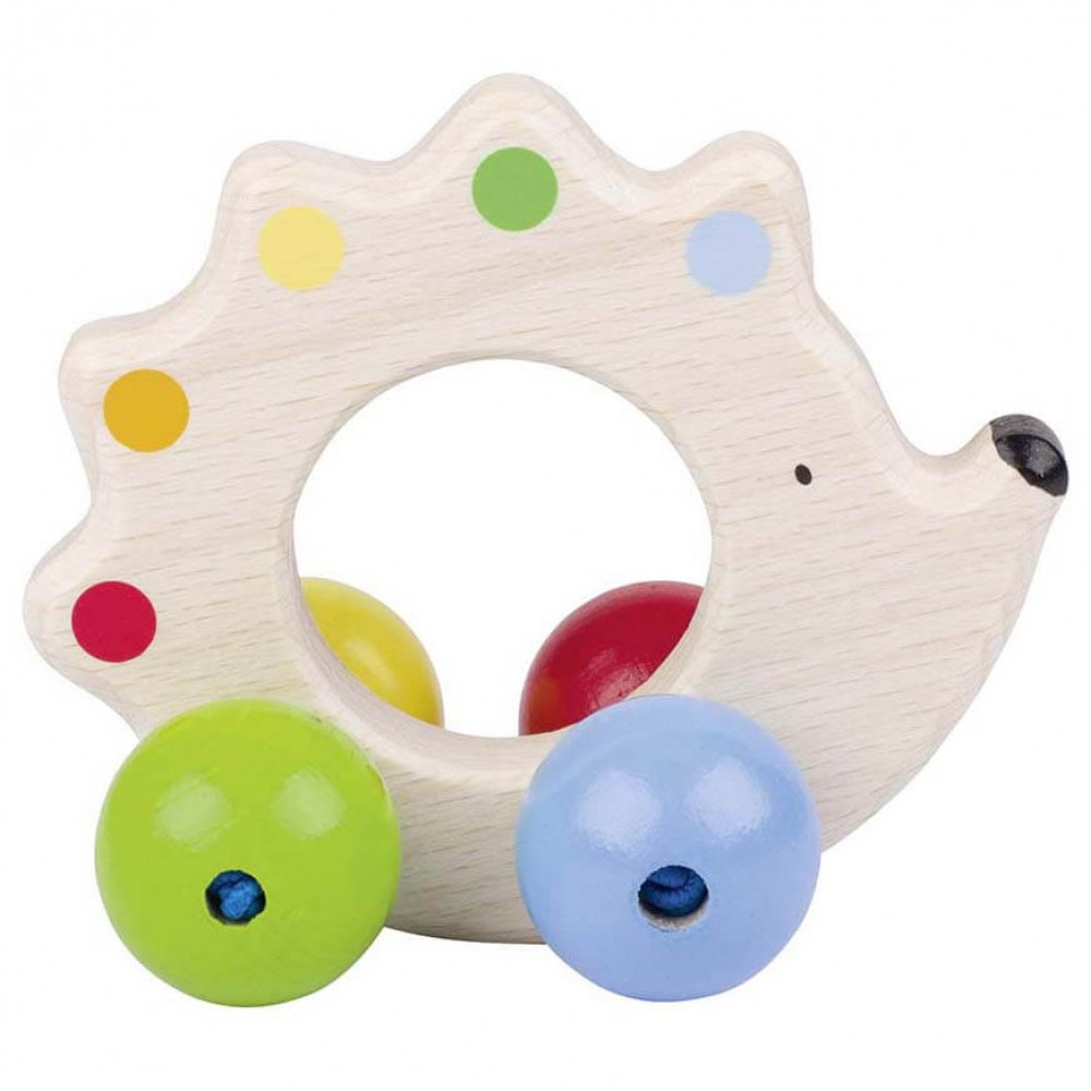 Цветна Дървена Дрънкалка - Таралеж с Перли GOKI