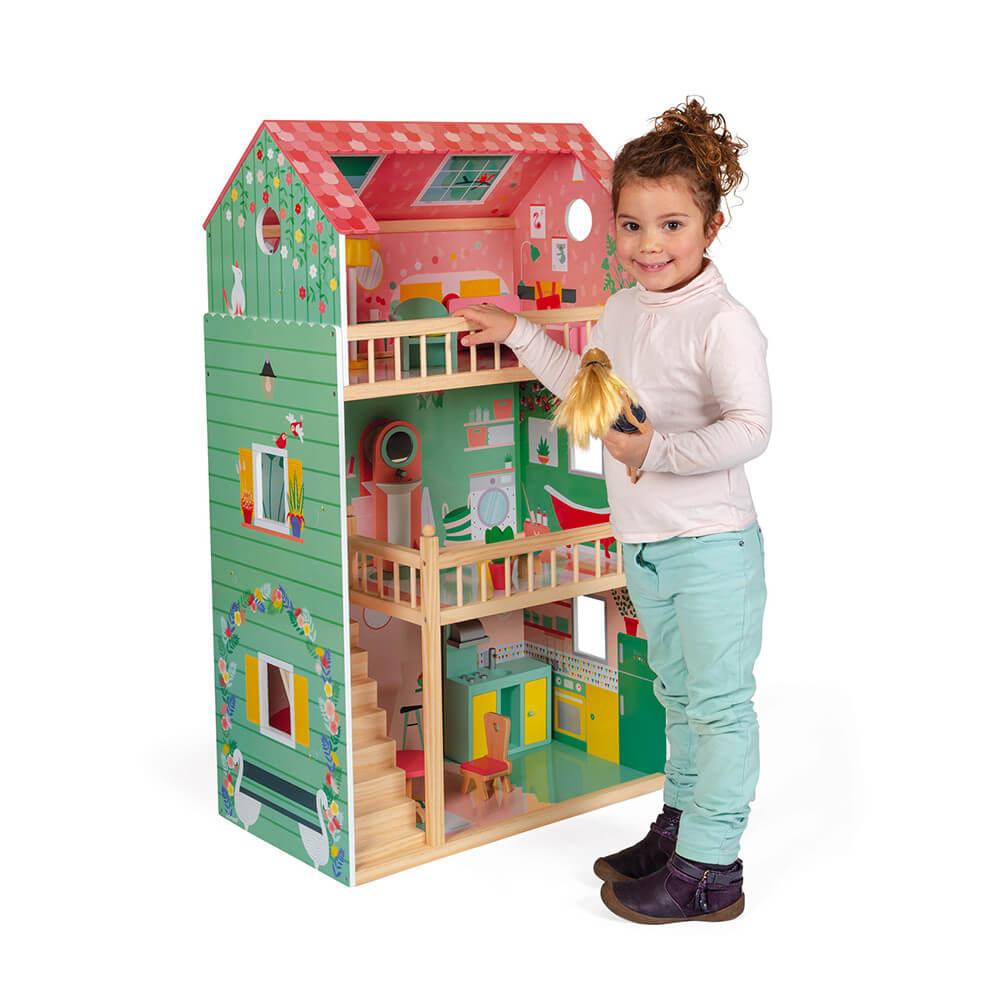 Голяма Къща за Кукли на Три Етажа JANOD